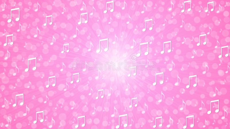 Abstract Music Notes Blast in Pink Background vector illustration