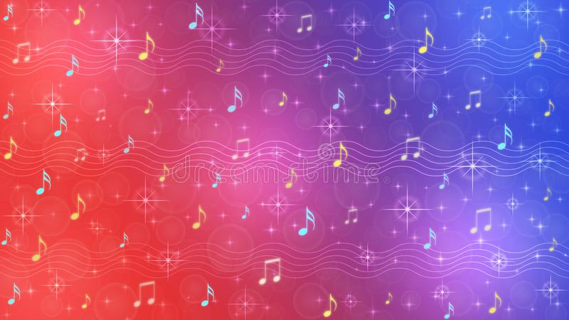 Abstract Music Notes and Staves in Blue and Red Gradient Background stock photos