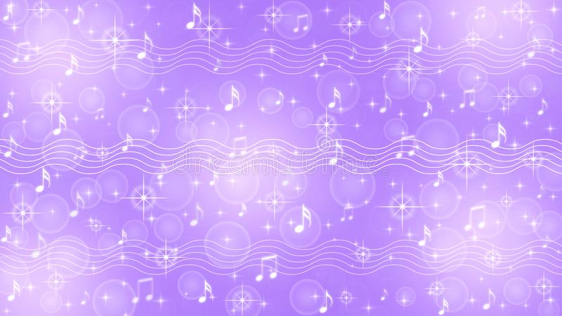 Abstract Music Notes and Staves in Shining Purple Background stock illustration