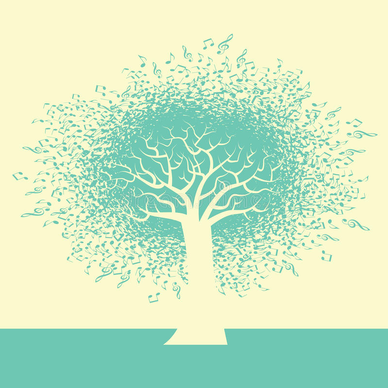An abstract Music Tree Background. For Print or Web vector illustration