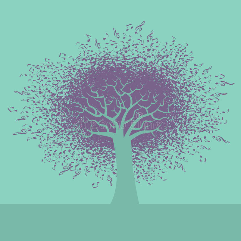 An abstract Music Tree Background royalty free illustration