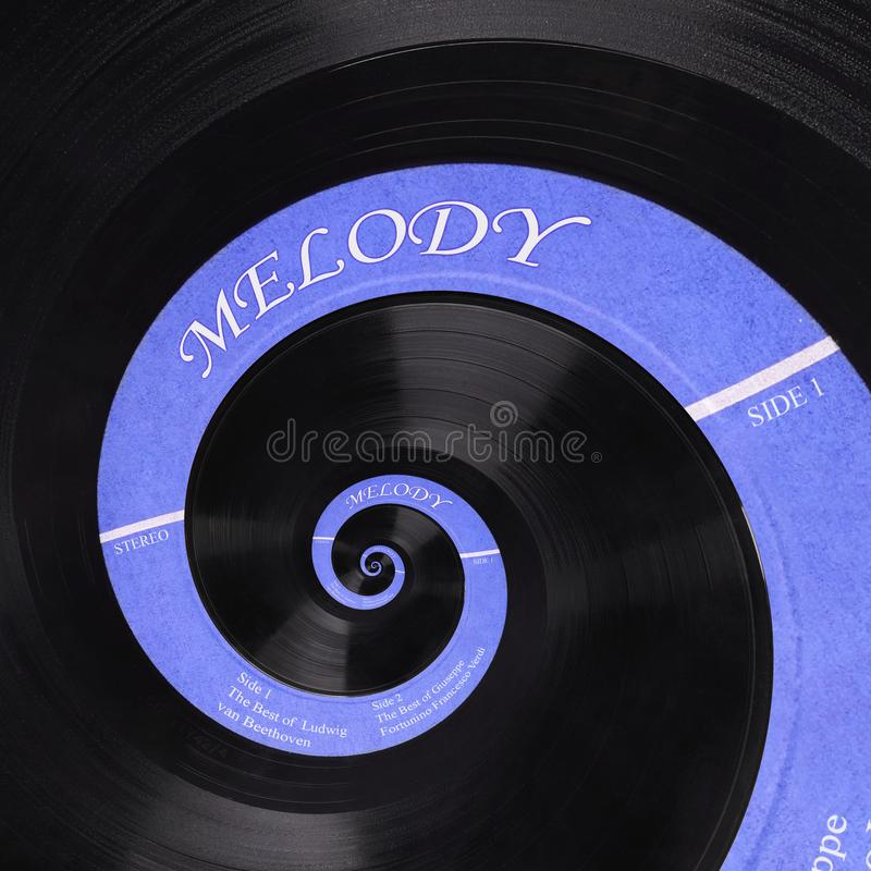 Abstract music vinyl disc spiral fractal background. Retro music vinyl disc abstract fractal. Vintage musical conceptual image. Pattern background Repetitive stock images