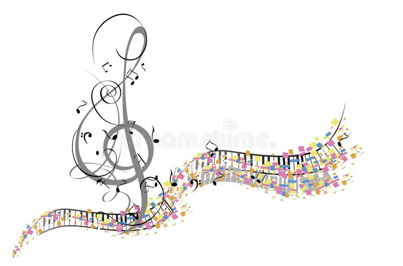 Abstract musical design with a treble clef and musical waves. Hand drawn vector illustration royalty free illustration