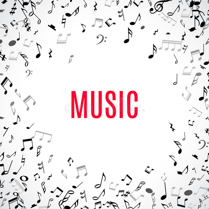 Free Abstract Musical Frame And Border With Black Notes On White Background. Stock Image - 68708421