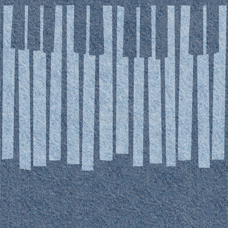 Abstract musical piano keys - seamless background - blue jeans stock illustration