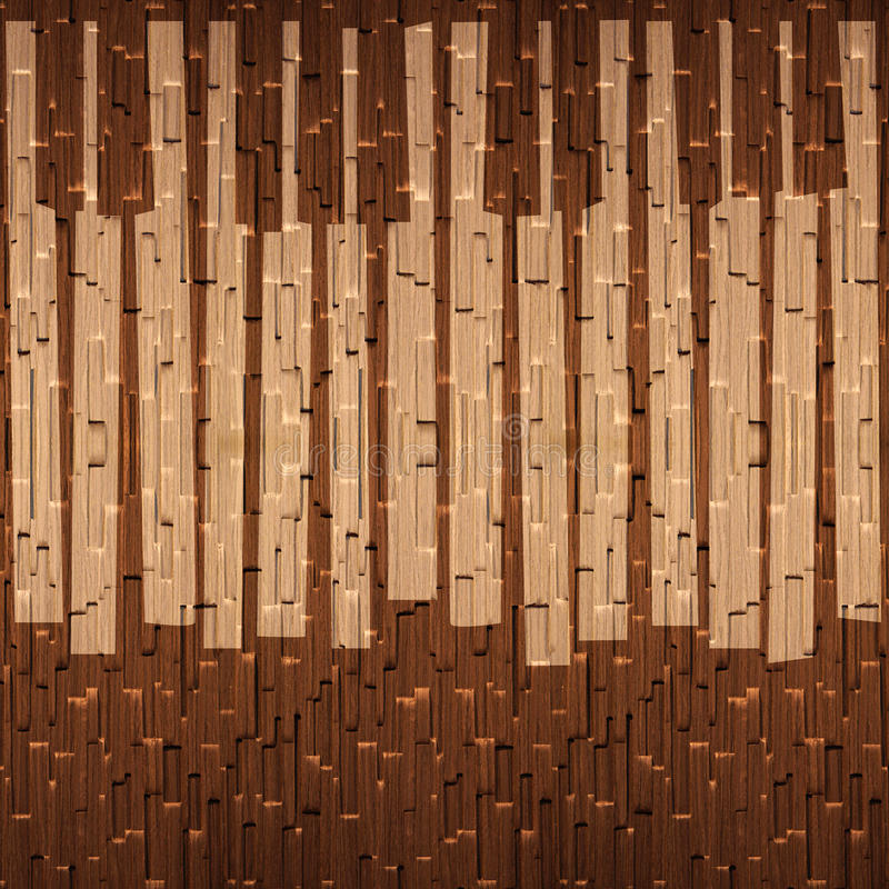 Abstract musical piano keys - seamless background - wooden surface vector illustration