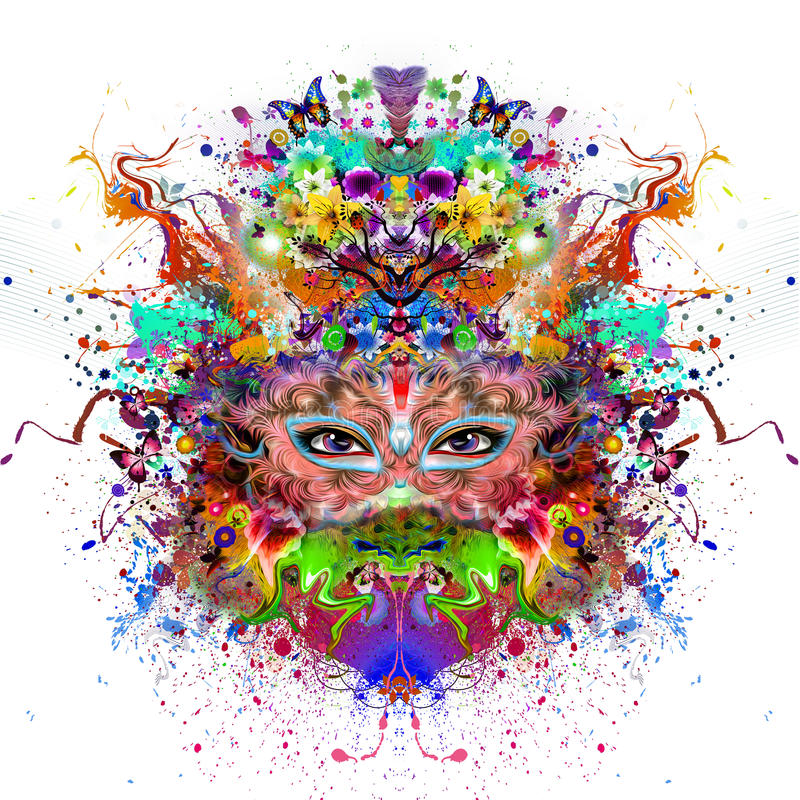 Abstract and mystic woman face stock illustration