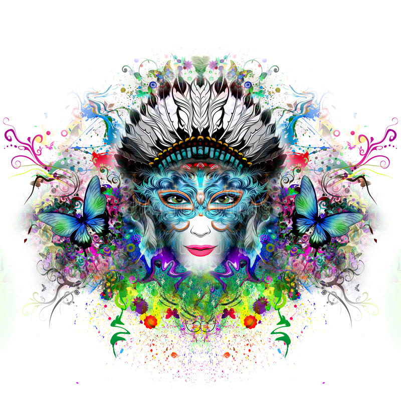 Abstract and mystic woman face royalty free stock photos