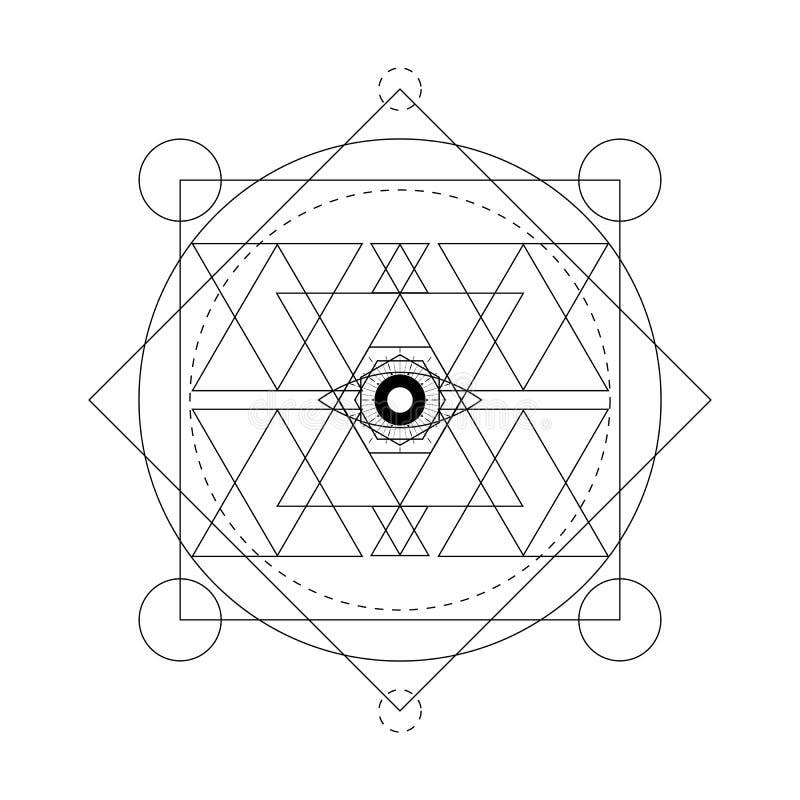 Abstract mystiek meetkundesymbool Vector lineaire alchimie, geheim en filosofisch teken stock illustratie