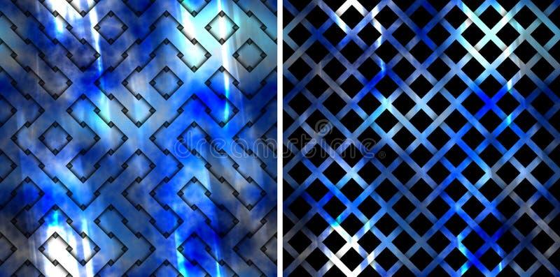 Abstract naadloos blauw patroon stock illustratie