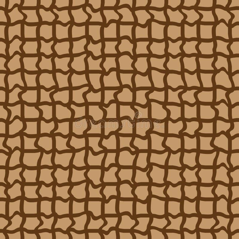 abstract naadloos bruin patroon met gekruld stock illustratie