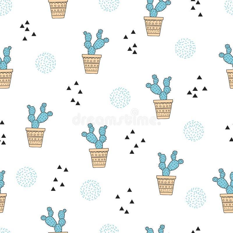 Abstract naadloos cactuspatroon In druk vector illustratie