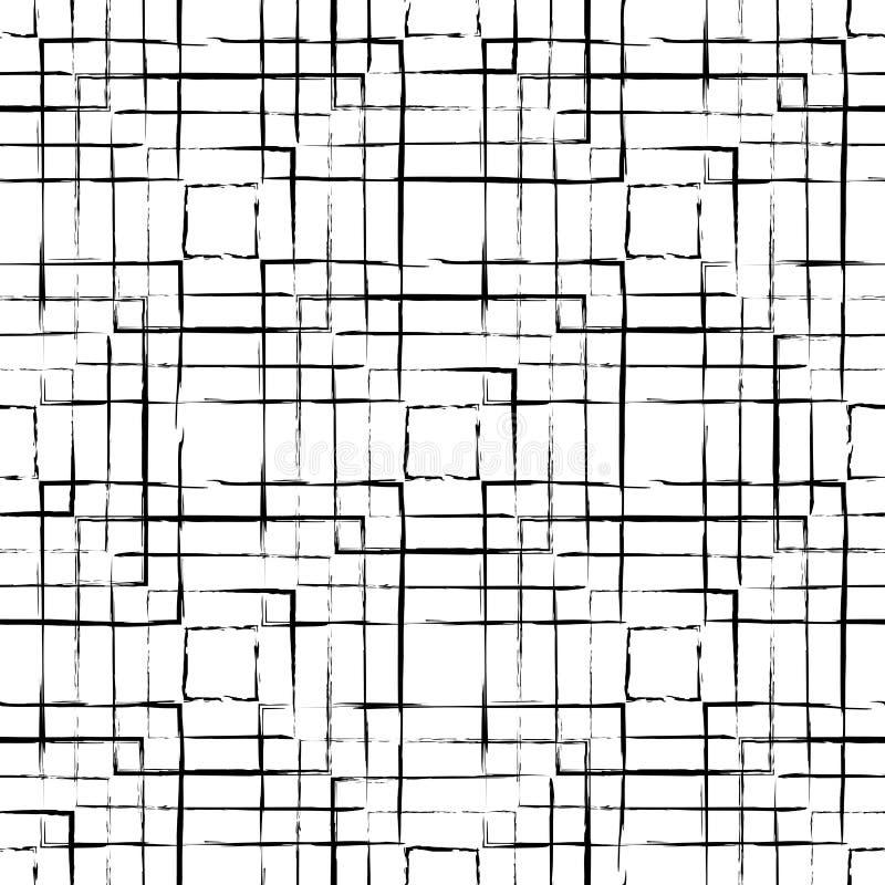 Abstract naadloos die patroon met inkt wordt gemaakt royalty-vrije illustratie