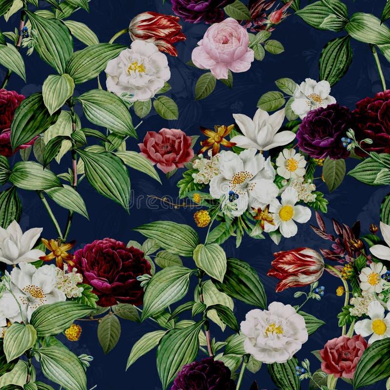 Abstract Naadloos Elegantiepatroon met Uitstekende Tuinbloemen royalty-vrije illustratie