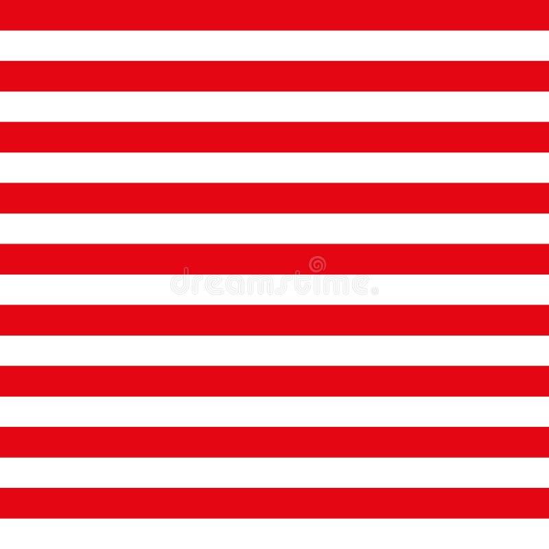 Abstract Naadloos geometrisch Horizontaal gestreept patroon met rode en witte strepen Vector illustratie royalty-vrije illustratie