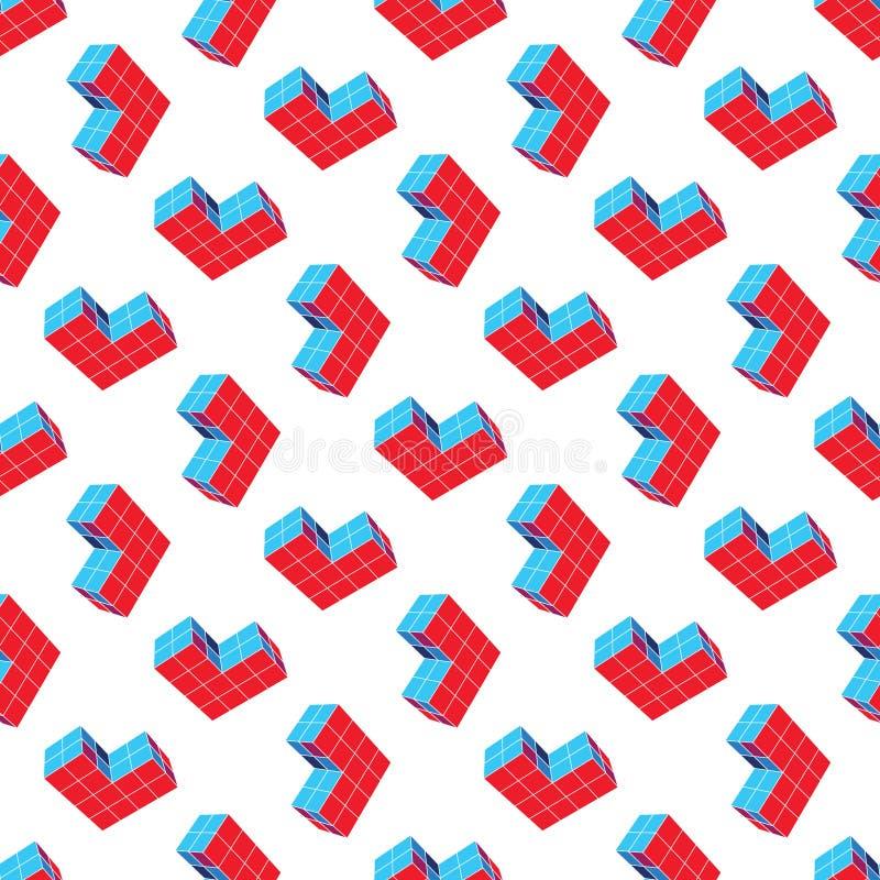 Abstract Naadloos Geometrisch Patroon Een driedimensionele vorm in ruimte Ontwerperdetails stock illustratie