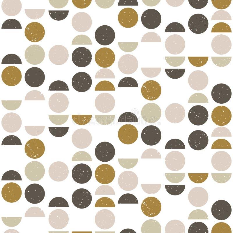 Abstract naadloos geometrisch patroon met cirkels en halve cirkels in Skandinavische stijl vector illustratie