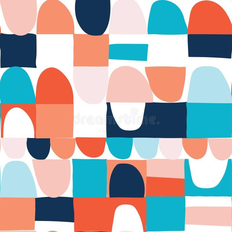 Abstract naadloos geometrisch patroon met halve cirkels en vierkant stock illustratie