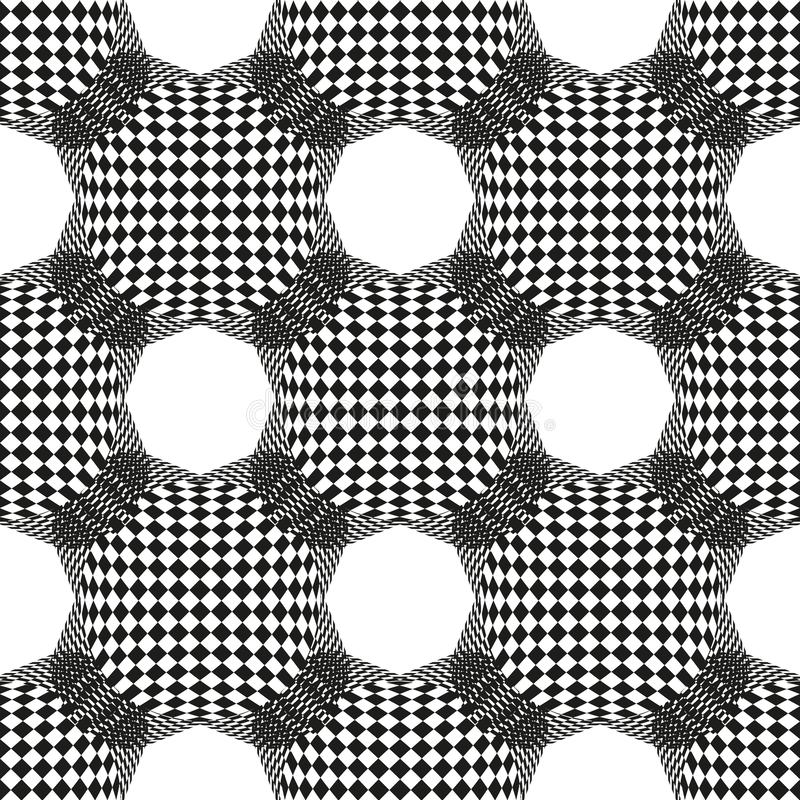 Abstract naadloos geometrisch patroon met schaakgebied en Hexagon Patroon Vector zwart-wit achtergrond royalty-vrije illustratie