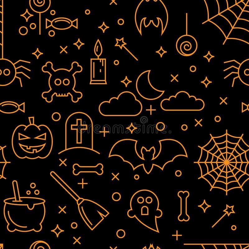 Abstract naadloos Halloween-behangpatroon als achtergrond stock illustratie