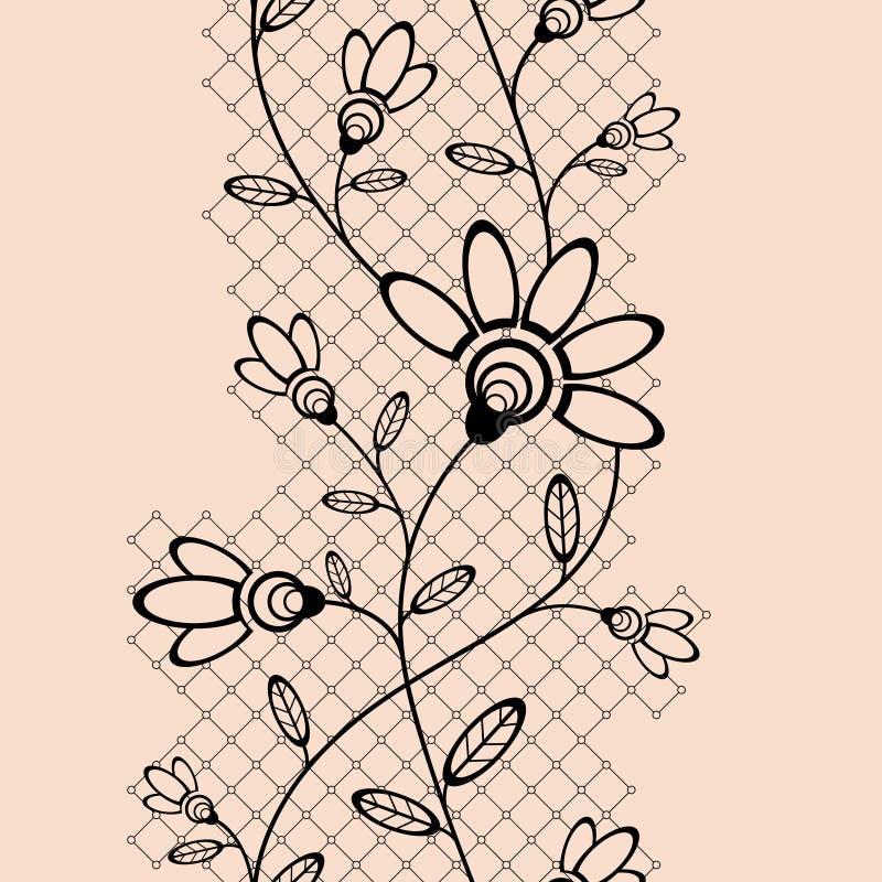 Abstract naadloos lint met bloemenelementen royalty-vrije illustratie