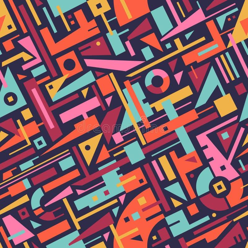 Abstract Naadloos Modern Art Pattern voor Textielontwerp stock illustratie
