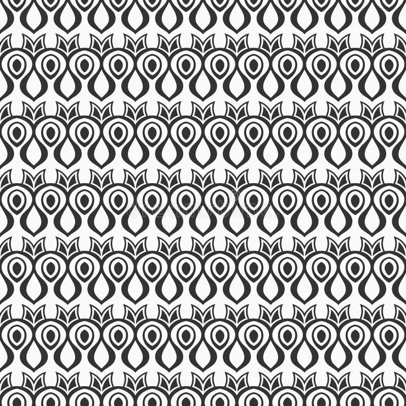 Abstract Naadloos Patroon Antiek ornament Vector zwart-wit achtergrond stock illustratie
