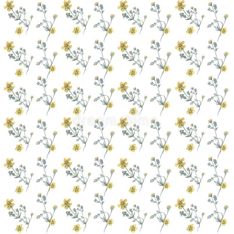 Abstract Naadloos Patroon Bloemen Waterverftextuur met bloemen stock afbeelding