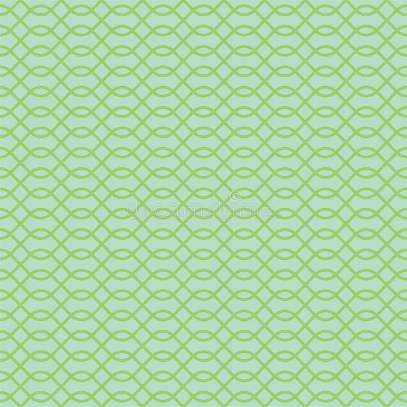 Abstract Naadloos Patroon De druk van het manierontwerp Ketting, het net van de kettingspost, guilloche Zwart-wit groen behang vector illustratie