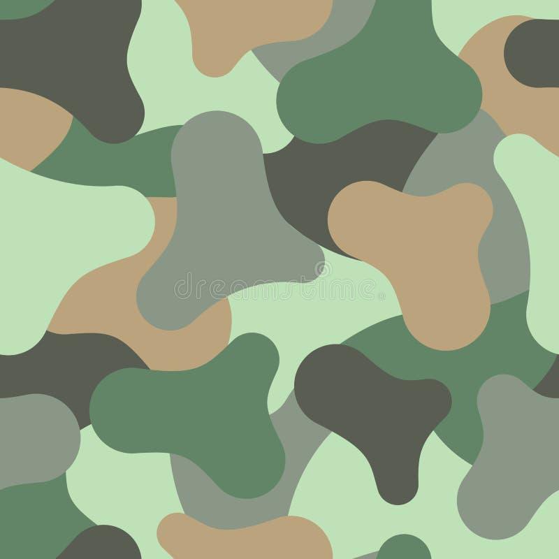 Abstract naadloos patroon die met multi-colored vlekken de stof van militaire uniformen imiteren Vector illustratie stock illustratie