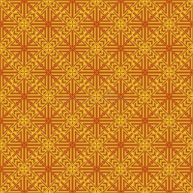 Abstract Naadloos Patroon Dwars-steek Gele en oranje kleur stock illustratie