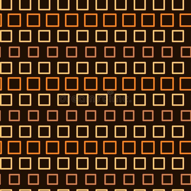 Abstract naadloos patroon, eindeloze textuur van oranje vierkanten op donkere achtergrond royalty-vrije stock fotografie