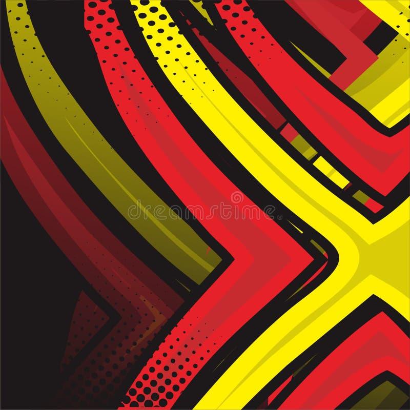 Abstract Naadloos Patroon Grafische vector het rennen achtergrond voor vinylomslag en overdrukplaatje rode en groene, gele, zwart stock illustratie