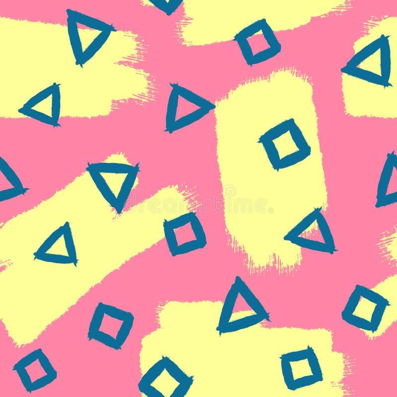 Abstract Naadloos Patroon Herhaalde borstelslagen en geometrische vormen royalty-vrije illustratie