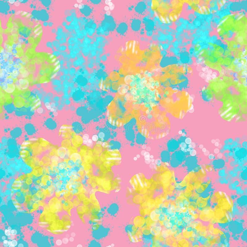 Abstract naadloos patroon met bloemen en lichte hoogtepunten stock illustratie