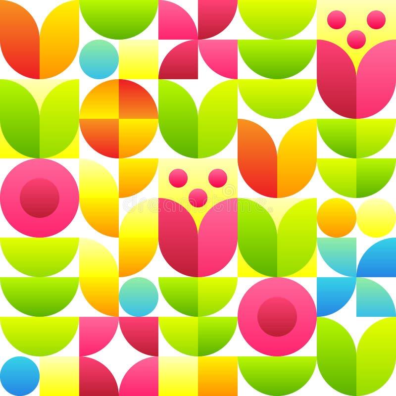 Abstract naadloos patroon met bloemen - tulpen, bellflowers en bladeren stock illustratie