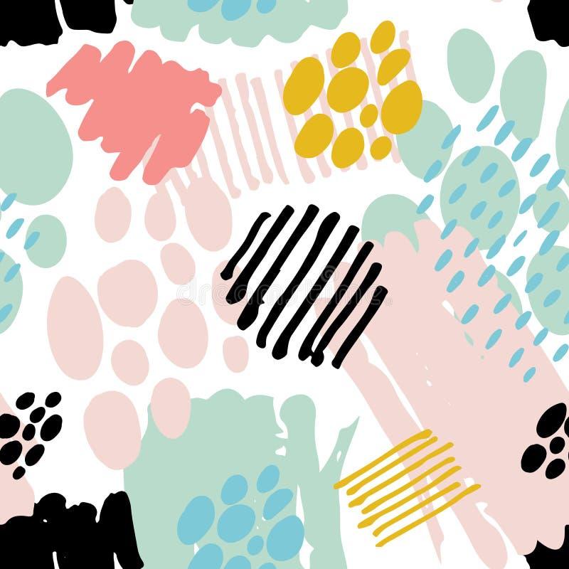 Abstract naadloos patroon met borstelslagen royalty-vrije illustratie