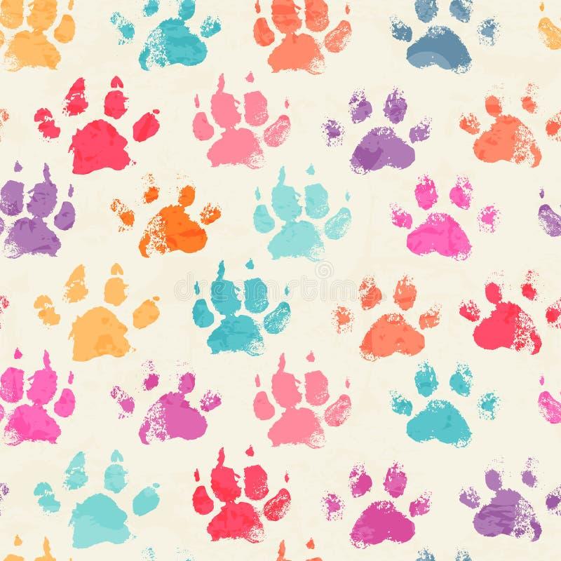 Abstract naadloos patroon met de heldere kleurrijke drukken van de handpoot royalty-vrije stock fotografie