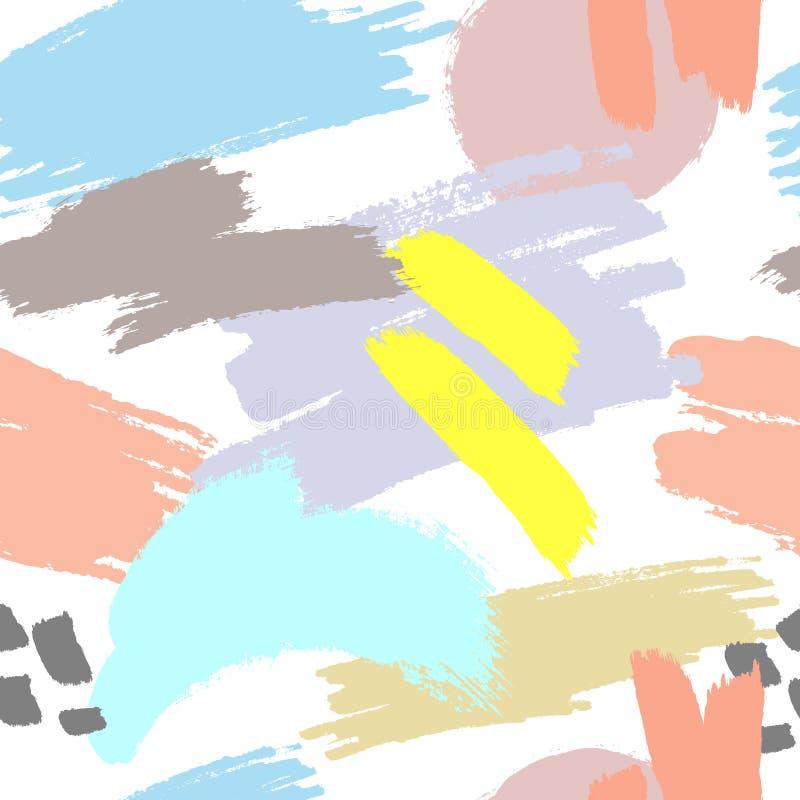 Abstract naadloos patroon met de slagen van de kleurenborstel Grunge, schets, graffiti, verf, waterverf vector illustratie