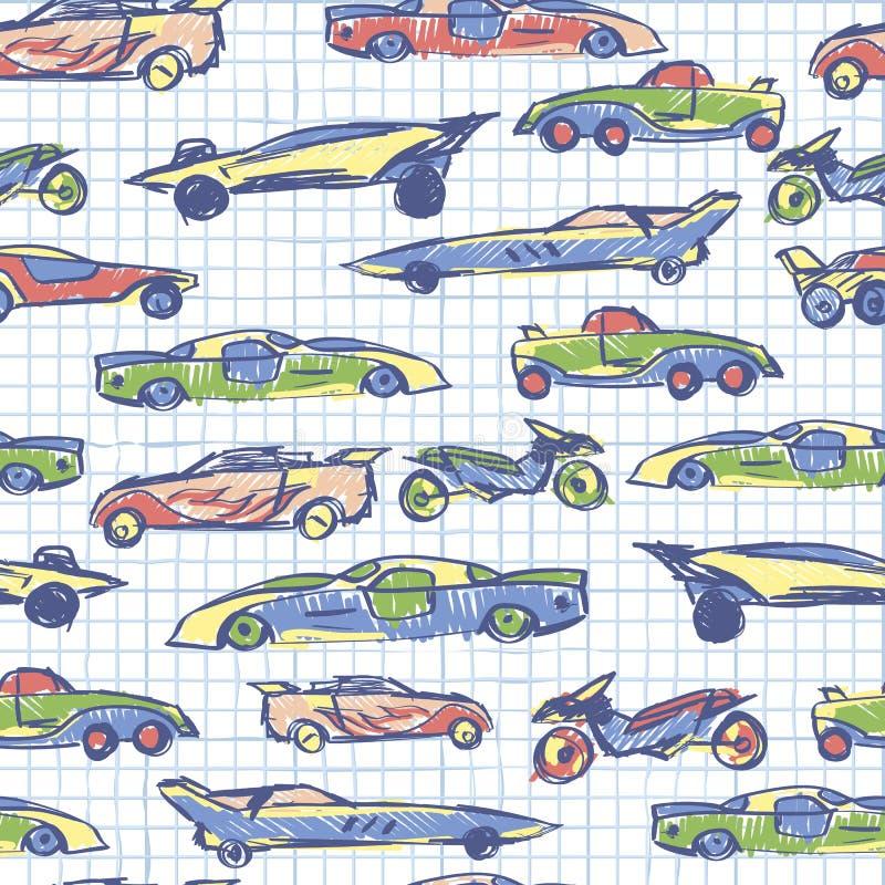 Abstract naadloos patroon met hand getrokken leuke auto Schoolinzameling De vectorillustratie van beeldverhaalauto's Notitieboekj stock illustratie