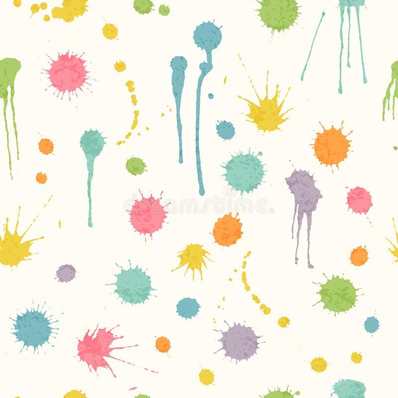 Abstract naadloos patroon met heldere kleurrijke hand getrokken vlekken stock illustratie