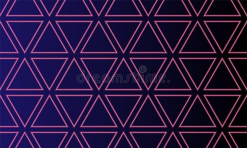 Abstract naadloos patroon met het tekenachtergrond van neon gloeiende driehoeken Lichten van neon de Driehoekige Elektrische Tech stock illustratie
