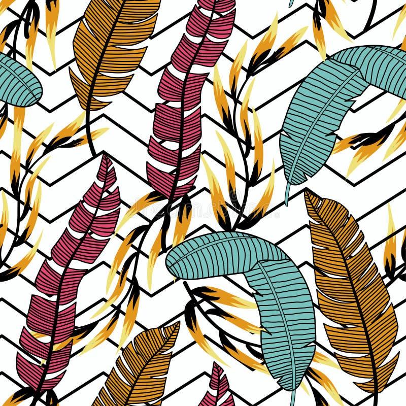 In abstract naadloos patroon met kleurrijke tropische bladeren en installaties op een witte achtergrond Vector ontwerp Wildernisd royalty-vrije illustratie