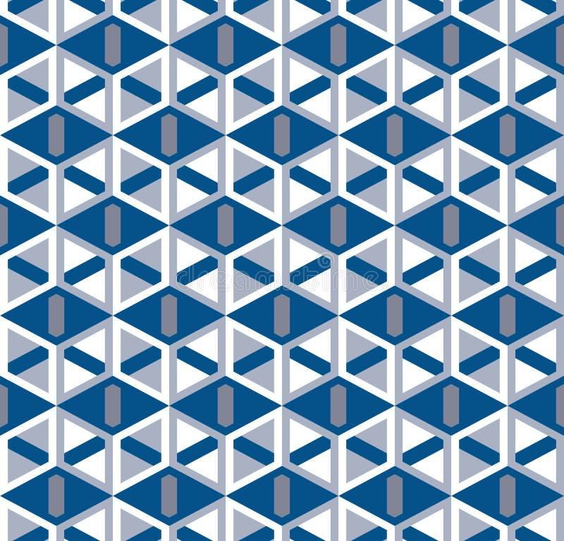 Abstract naadloos patroon met kubiek rooster Hoekige geometrische elementen vector illustratie