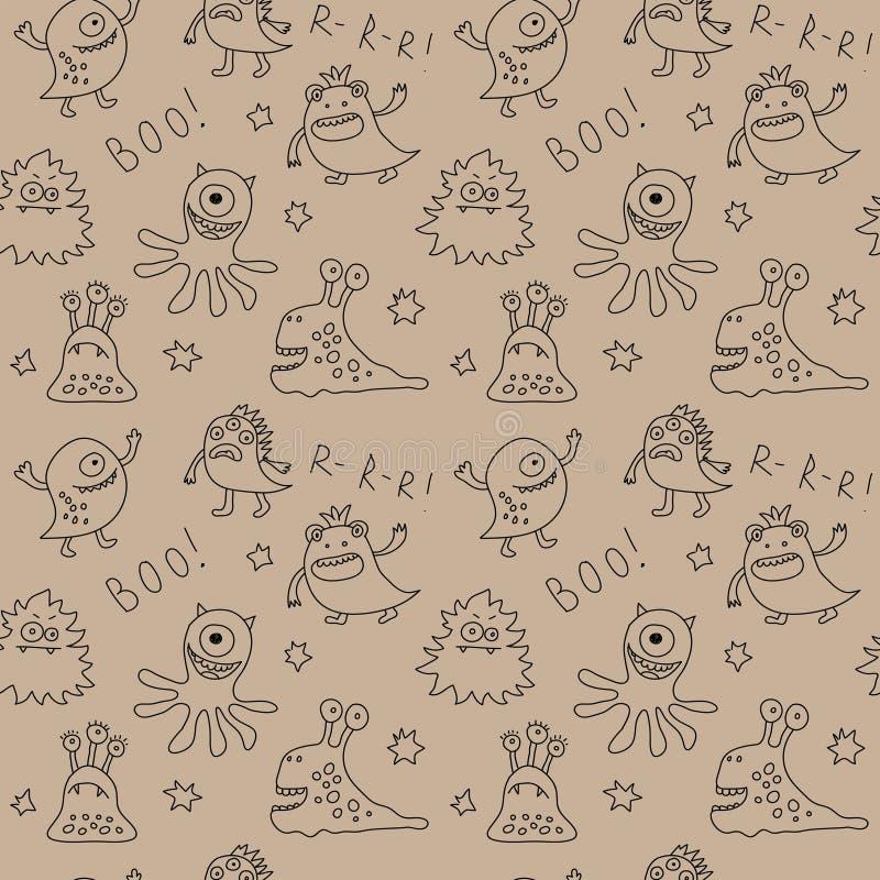Abstract naadloos patroon met leuke monsters en sterren stock illustratie
