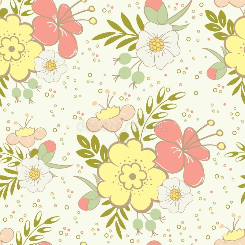 Abstract naadloos patroon met mooie hand getrokken bloemenachtergrond royalty-vrije illustratie