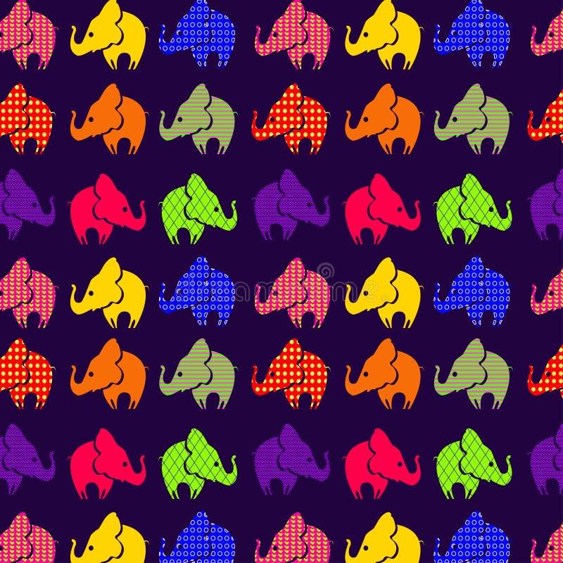 Abstract naadloos patroon met olifanten op viooltje stock illustratie