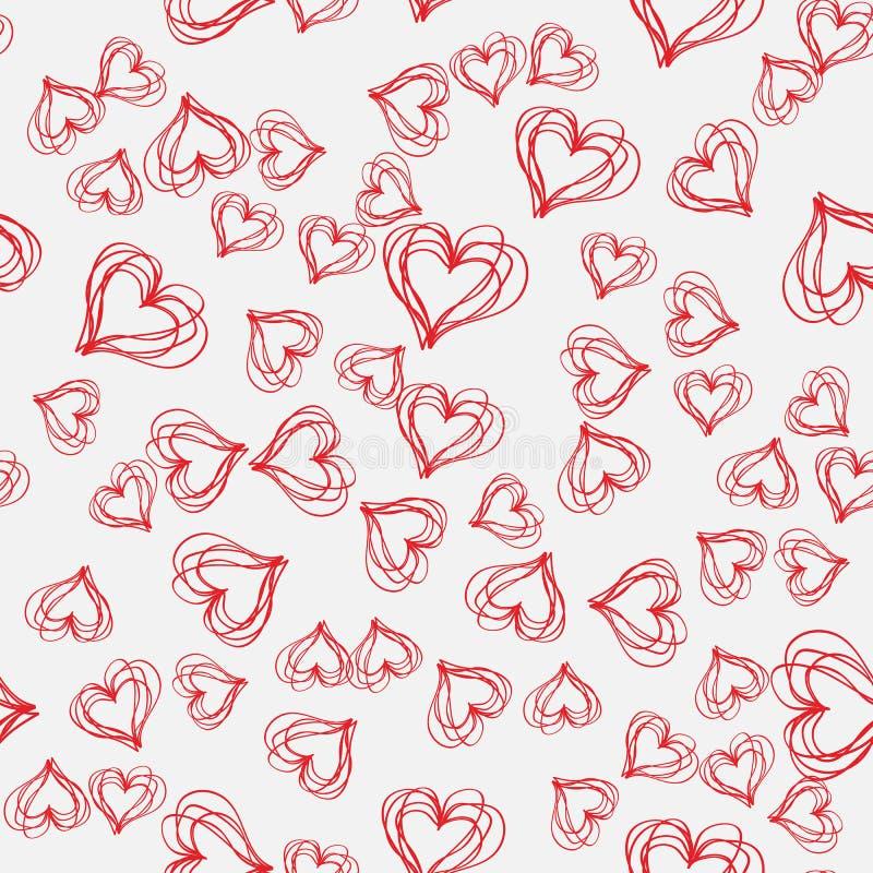 Abstract naadloos patroon met uitgebroede harten op een grijze achtergrond stock illustratie
