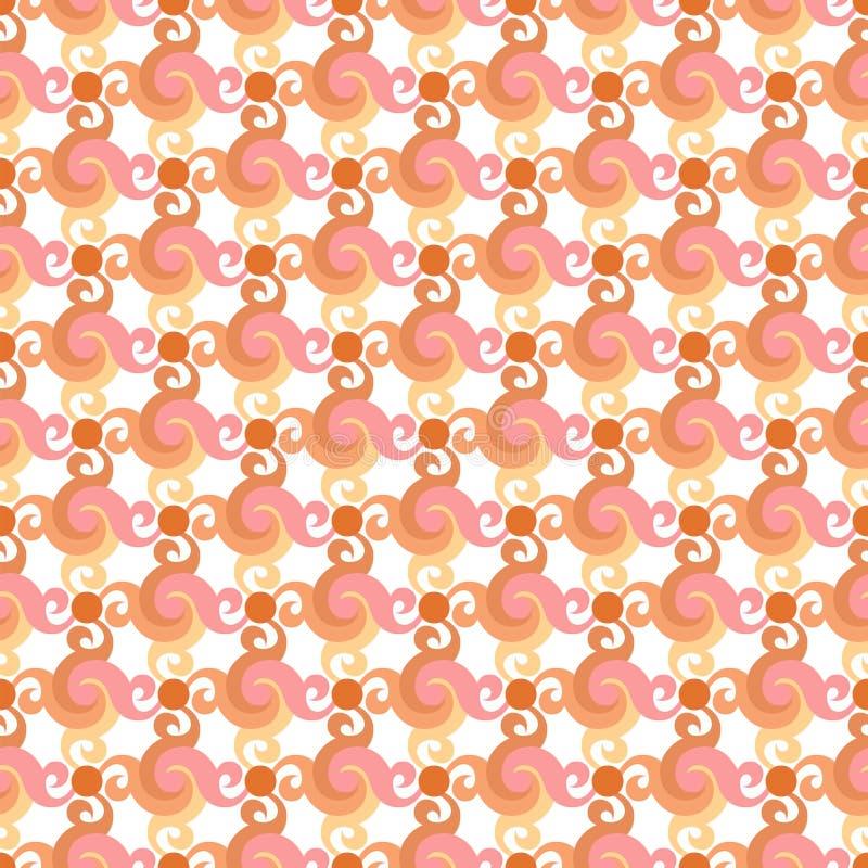 Abstract naadloos patroon met wervelingen of draai, bladeren en punten royalty-vrije illustratie