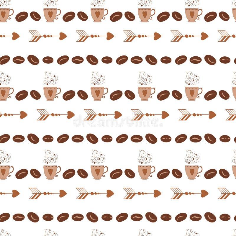 Abstract naadloos patroon in retro stijl met koffieboon, kop, mok, pijl vector illustratie